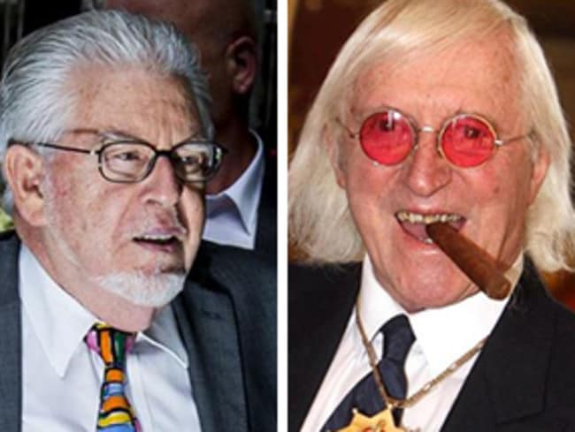 Rolf Harris and Jimmy Savile. Picture: Supplied.