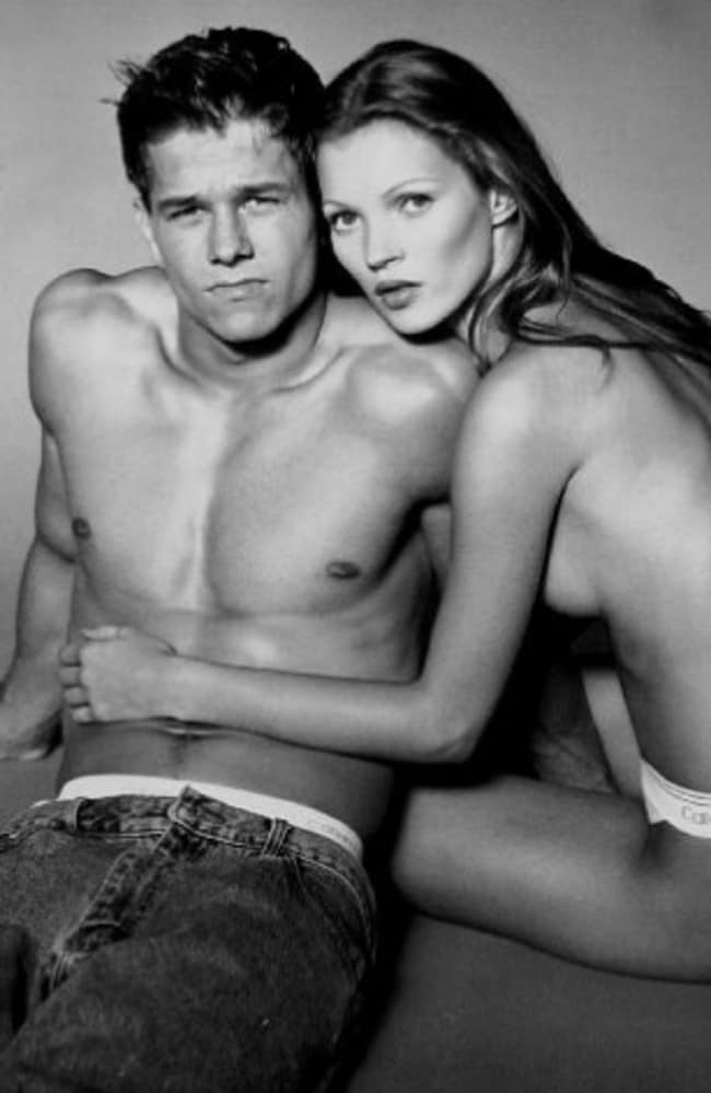 Mark Wahlberg and Kate Moss pose for a Calvin Klein promotion.