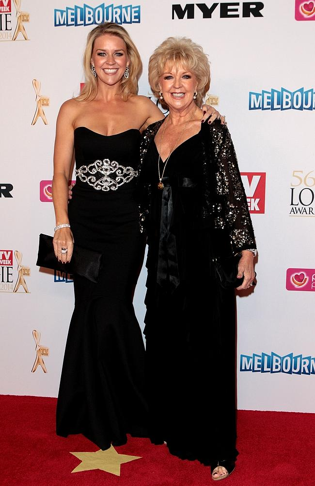 Lauren Newton and Patti Newton arrive at the 2014 Logie Awards at Crown Palladium