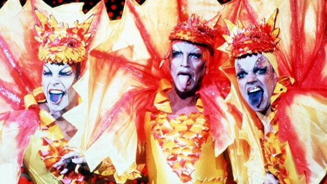 Pearce (at left) with Terence Stamp and Hugo Weaving in a scene from The Adventures of Priscilla, Queen of the Desert.