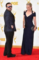 Ricky Gervais and Jane Fallon attend the 67th Annual Primetime Emmy Awards in Los Angeles. Picture: AP