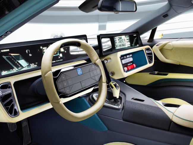 Rinspeed Etos concept car even has a world first foldaway steering wheel. Picture: Supplied