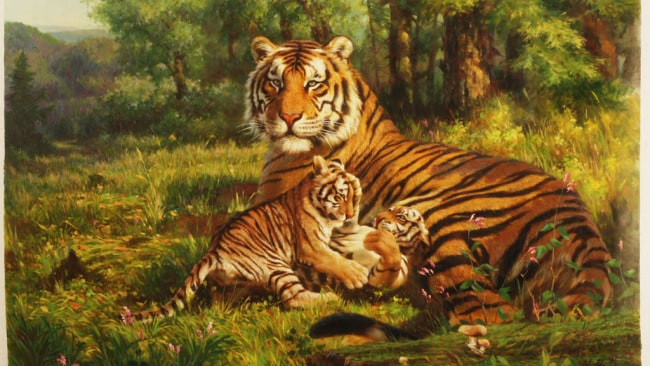 'Tiger With Cubs' by Kim Jin Hyok. Photo: Supplied