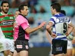 Referee Gerard Sutton talks to Bulldog's Michael Ennis during the NRL game between the Canterbury Bankstown Bulldogs and the South Sydney Rabbitohs at ANZ Stadium. Picture Gregg Porteous