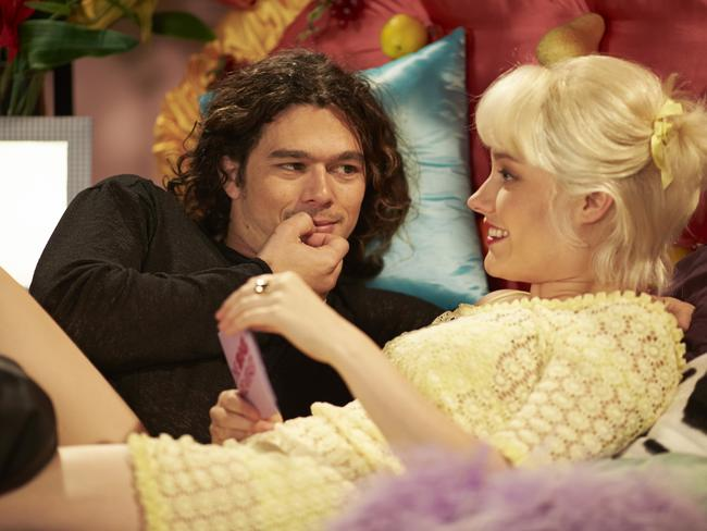 Sexy rock god ... Luke Arnold and Georgina Haig recreate the famous Michael Hutchence/Paula Yates Big Breakfast interview for Channel Seven mini-series INXS: Never Tear Us Apart. Picture: Channel Seven