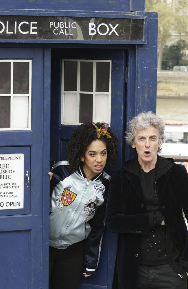 British actor Peter Capaldi as Doctor Who and Pearl Mackie as his companion Bill Potts. Picture: AP
