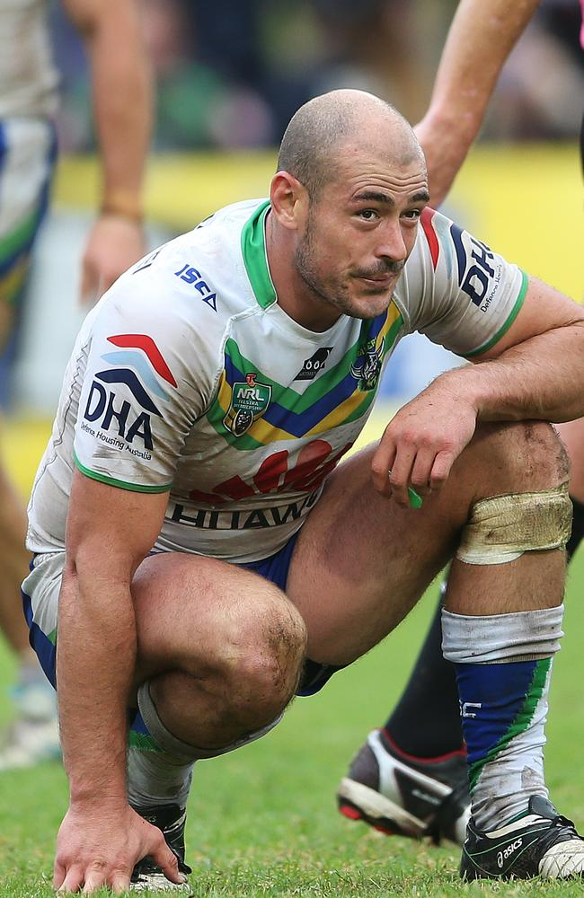 Canberra's Terry Campese looks dejected after his side's loss to the Sea Eagles.