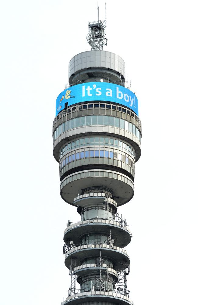 BT Tower announces the birth of the latest Royal. Picture: Getty