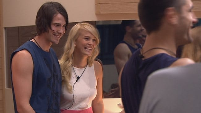 Big Brother contestants Jade and Drew meet the other housemates. Picture: Channel 9