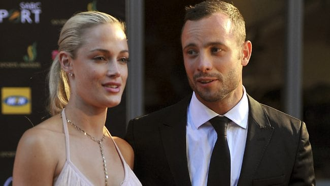 South African Olympic athlete Oscar Pistorius and Reeva Steenkamp, photographed together at an awards ceremony in Johannesburg in November 2012.