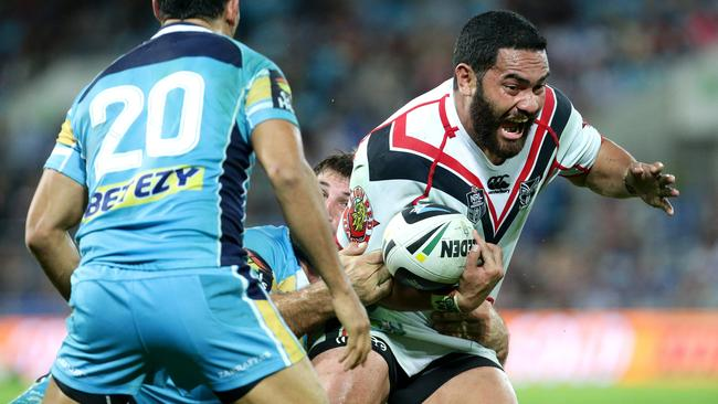 Konrad Hurrell on the attack against the Titans.
