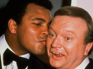 Famous picture of Bert Newton and guest, boxer Muhammad Ali at the TV Week Logie Awards in 1979. 1970s