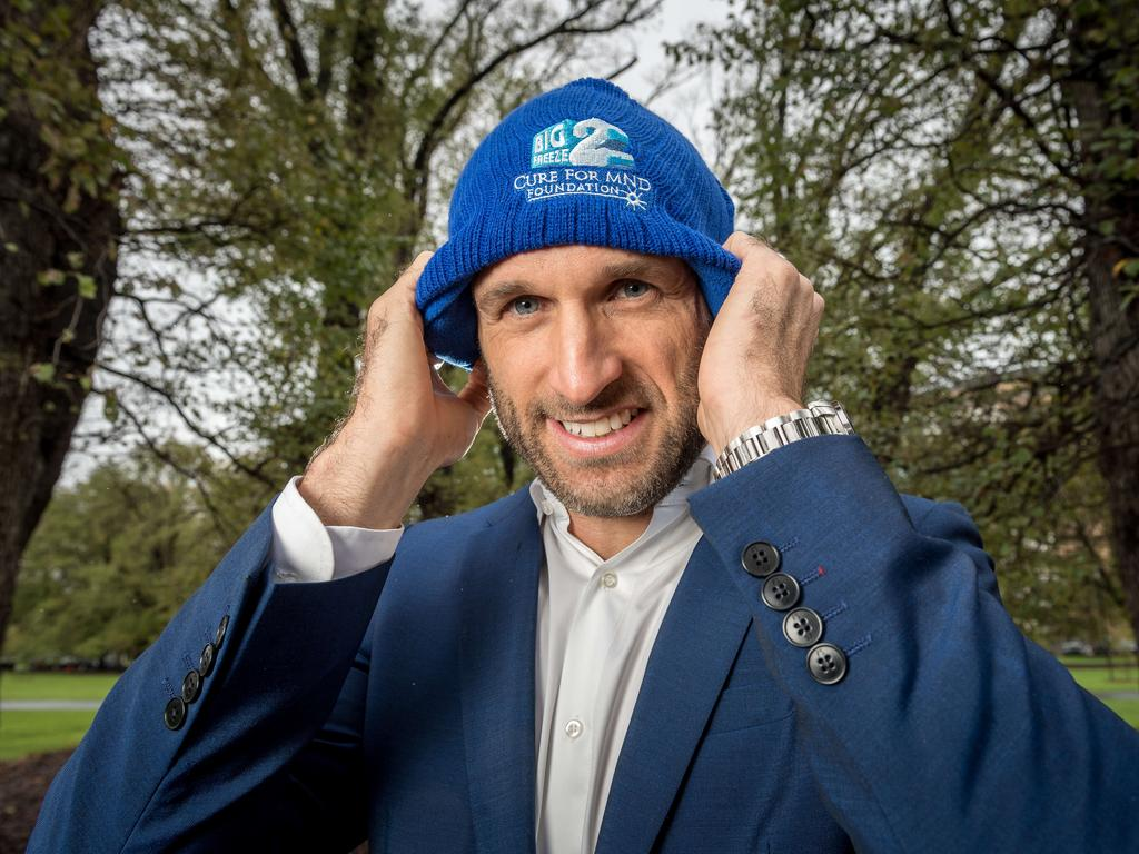 Chris Judd dons a beanie in support of not-for-profit Cure for MND — Freeze. All money raised from beanie sales will go toward finding a cure for terminal MND. Picture: Jake Nowakowski