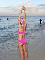 Rottnest Channel Swim 2014. Tamera Lang warms up. Picture: Stewart Allen