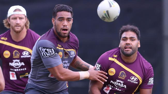Joe Ofahengaue and Sam Thaiday during Brisbane Broncos training. Picture: Darren England