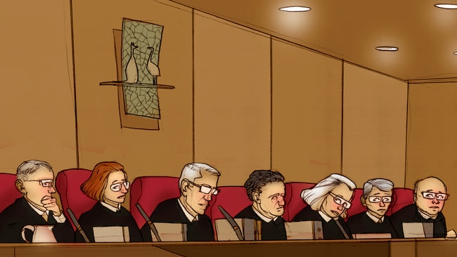 The High Court sits in Brisbane. Artwork: Brett Lethbridge