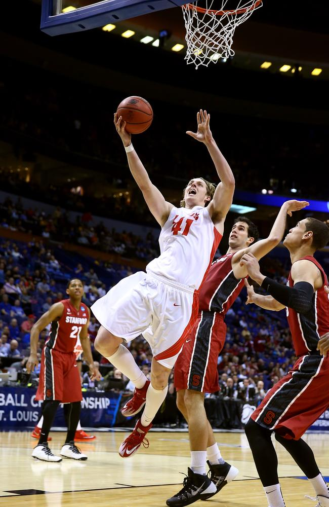 Cameron Bairstow in action for the New Mexico Lobos during his college career.