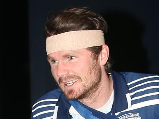 Geelong AFL Football Geelong Cats stake out - an Injured Patrick Dangerfield.the head bandage and shoulder sling are fake the moon boot real Arrives for a press conference in a moon boot    Picture: Mark Wilson