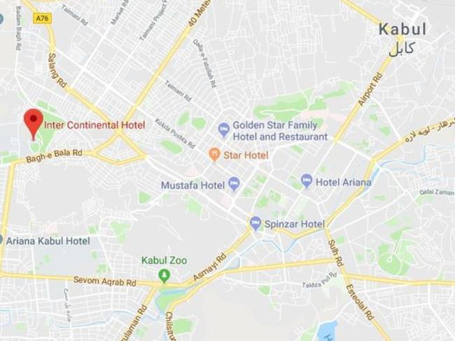 Kabul hotel attack gunmen open fire at intercontinental hotel the location of the intercontinental hotel in kabul afghanistan picture googlemaps gumiabroncs Choice Image