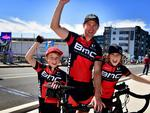 Eljay, 8, Jason and Conor Branson, 11, at Port Adelaide. Picture: Bianca De Marchi
