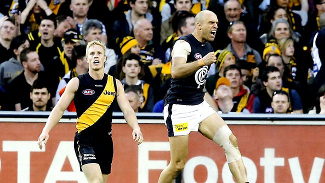 Carlton's Chris Judd has a spring in his step after kicking a goal in the fourth quarter against Richmond at the MCG yesterday Picture: Wayne Ludbey