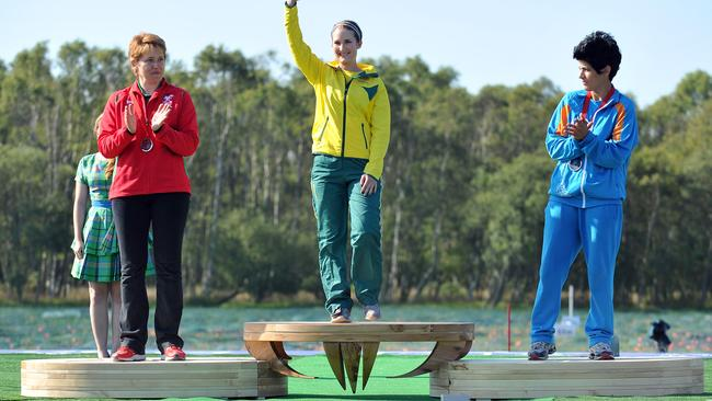 The stunning medal podiums are made from local fallen trees.