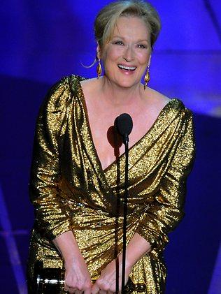 Meryl Streep accepts the Oscar for best actress in a leading role for The Iron Lady. Picture: AP