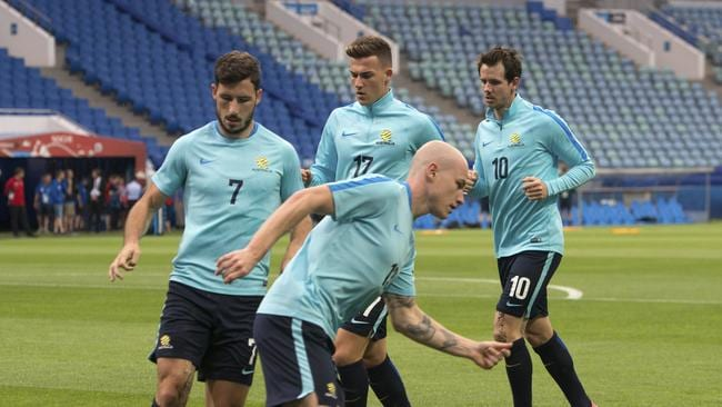 Aaron Mooy at training in Sochi.