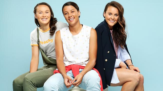 Matildas Caitlin Foord, Sam Kerr and Hayley Raso in a shoot for Westfield.