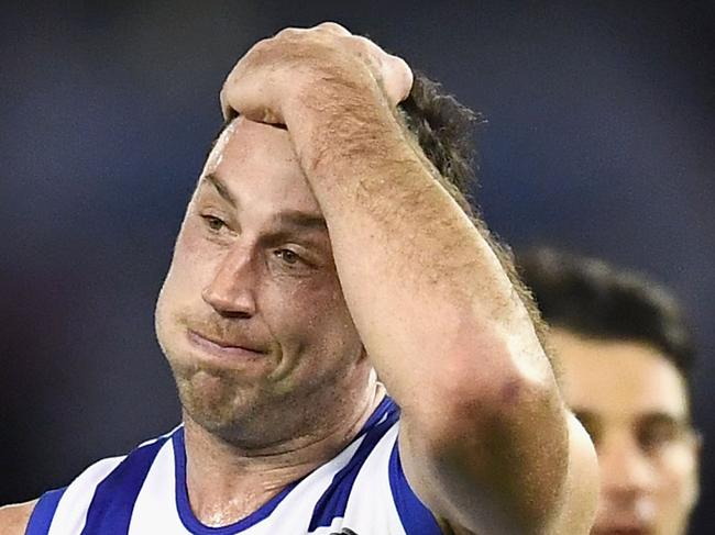 MELBOURNE, AUSTRALIA - JUNE 24:  Todd Goldstein of the Kangaroos looks dejected after losing the round 14 AFL match between the Western Bulldogs and the North Melbourne Kangaroos at Etihad Stadium on June 24, 2017 in Melbourne, Australia.  (Photo by Quinn Rooney/Getty Images)