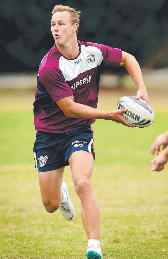 Manly's Daly Cherry-Evans looks to offload during a Sea Eagles training session.