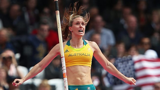 Australia's Alana Boyd clears 4.55m during pole vault qualifying. Picture: Phil Hillyard