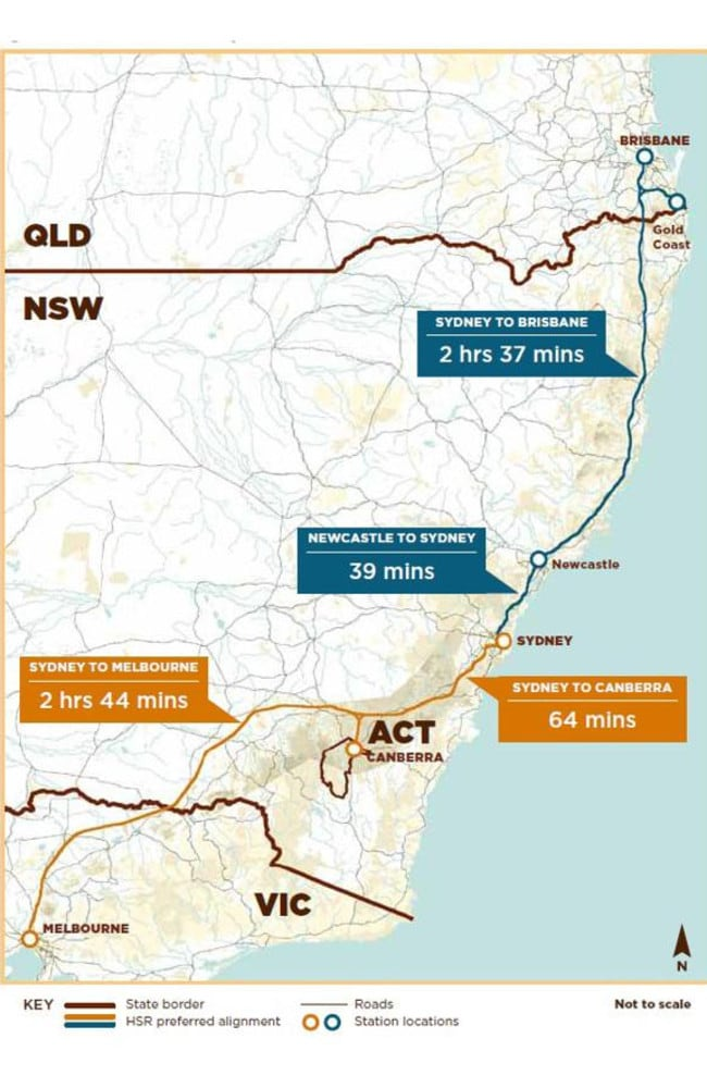 The proposed route, taking in the major cities of Melbourne, Canberra, Sydney and Brisbane.