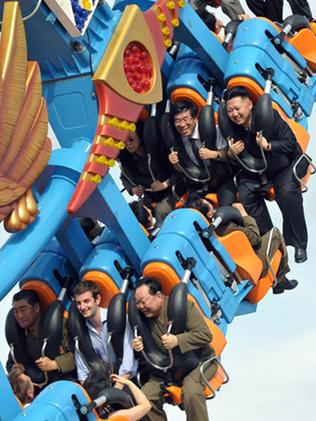 Kim Jong-Un enjoys a ride at the Rungna People's Pleasure Ground in Pyongyang. Picture: AFP