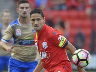 Marcelo Carrusca of United during the round 20 A-League match between the Adelaide United and Newcastle Jets at Coopers Stadium in Adelaide, Friday, Feb. 17, 2017. (AAP Image/David Mariuz) NO ARCHIVING, EDITORIAL USE ONLY