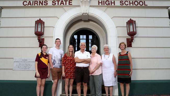 Cairns State High School prepares to celebrate 100th birthday as current, former and future students gather at the school for morning tea. Sari Hammett, 11, will attend next year in year 7, Asher Hammett, 17, current year 11 student, Jane Hammett, class of 1994, Brian Smith, class of 1949, Jill Smith class of 1952, Christine Forrester class of 1964 and Barbara Russell class of 1968. Picture: Marc McCormack