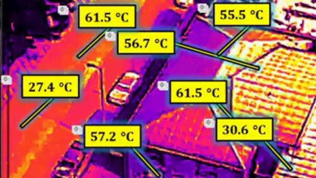 A study by UNSW found extremely high temperatures on the surface of some of Darwin's roads and buildings which can then raise the ambient temperature. Picture: UNSW