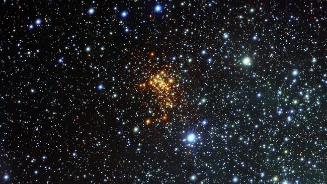 This new picture from the VLT Survey Telescope at the Paranal Observatory shows the remarkable super star cluster Westerlund 1 (eso1034). This exceptionally bright cluster lies about 16,000 light-years from Earth in the southern constellation of Ara (The Altar). The biggest known star in the cosmos is in its death throes and will eventually explode, astronomers said.