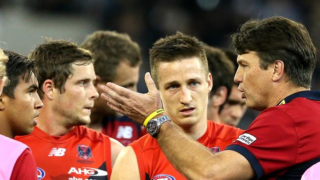 Paul Roos likes to give plenty of direction to his young side. Picture: Wayne Ludbey