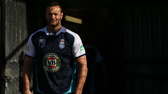 Boyd Cordner arrives for a Blues training session at Allianz Stadium.
