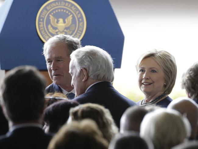 Former President George W. Bush, left, and Hillary Clinton were also in attendance.