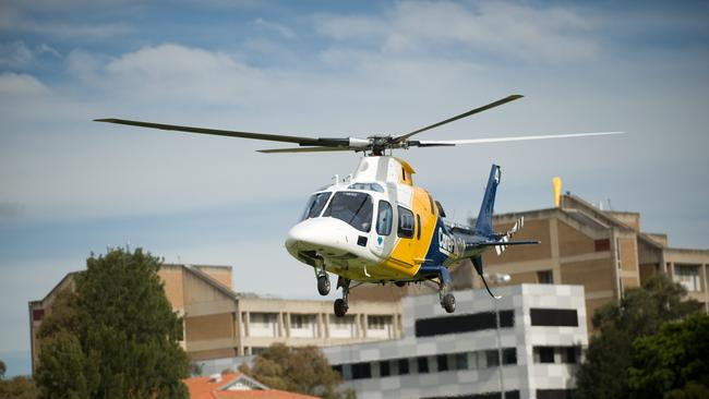 The Careflight chopper landing at Westmead.
