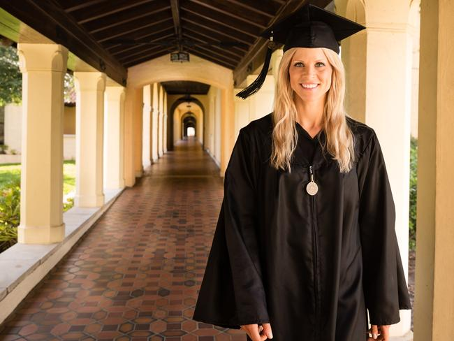 Elin Nordegren receives the Outstanding Senior Award during her graduation from Rollins College two weeks ago.