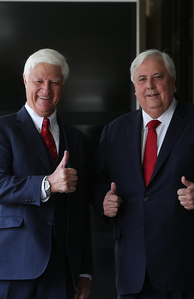 An alliance? Bob Katter (left) and Clive Palmer may join forces.
