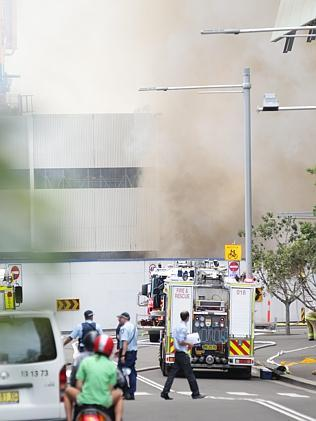 Barangaroo site on fire.
