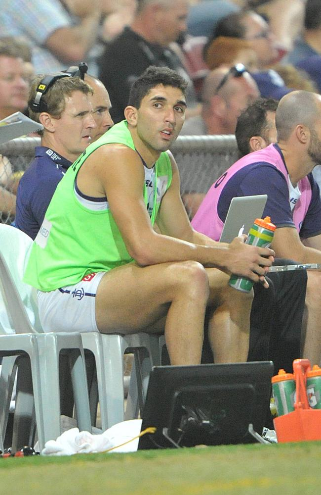 Anthony Morabito started the game as the Fremantle substitute player.