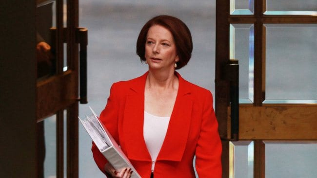 PM Julia Gillard went about her normal duties in Question Time while Kevin Rudd moved to the back bench. Picture: Gary Ramage