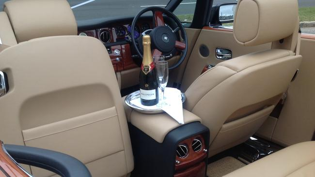 Sweet ride to Jonah's in a Rolls-Royce Phantom Drophead. Picture: Supplied