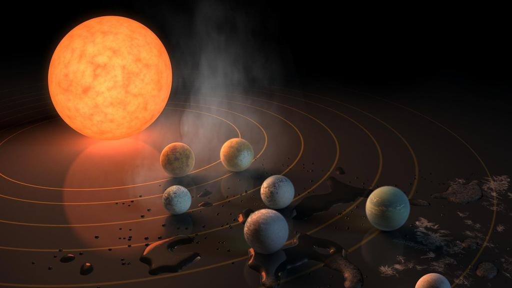 This artist's concept of the TRAPPIST-1 star, an ultra-cool dwarf, has seven Earth-size planets orbiting it. Any of these planets could have liquid water on them. Picture: NASA
