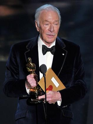 Christopher Plummer accepts the Best Supporting Actor Award for 'Beginners'. Picture: Getty